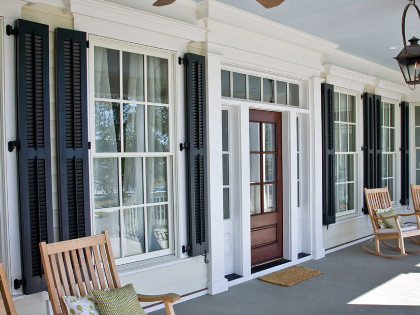 Louvered shutters on a porch